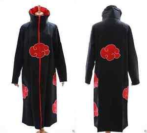 N-01 Naruto Akatsuki Itachi Pain Tobi Mantel Umhang Cosplay Kostüm schwarz rot