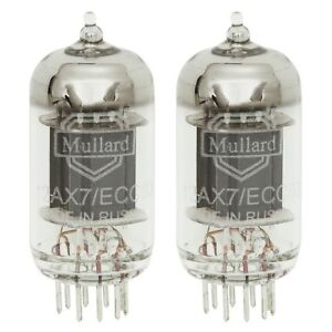 Brand New In Box Gain Matched Pair Mullard Reissue 12AX7 Vacuum Tubes LONG Plate
