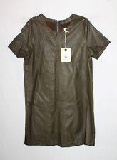 Mika & Gala Brand Khaki Faux Leather Short Sleeve Shift Dress Size 8 BNWT #TM115