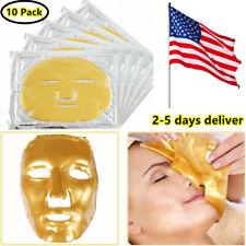 10pc Gold Bio Collagen Facial Face Mask 24K Revitalising Firming Anti Skin Aging