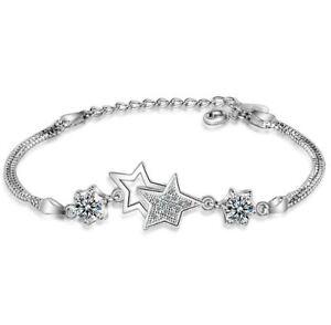 Star Linked Charm 925 Sterling Silver Chain Bracelet Womens Girls Jewellery Gift