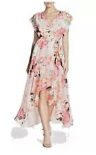 c89ebfb0b24 Eliza J Floral Print High Low Faux Wrap Belted Maxi Gown Dress 6P