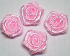 120 Pink Satin Ribbon Rose Appliques ~ Wedding/Bridal R004