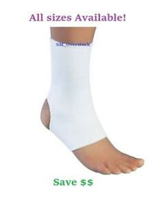NEW DONJOY PROCARE ELASTIC ANKLE SUPPORT COMPRESSION WRAP WHITE CIRCULATION