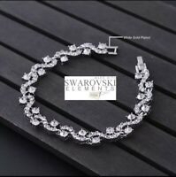 Swarovski Genuine Crystal 18K white Gold plated Bendy Bracelet + Gift box
