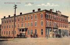 McPherson Kansas Union Hotel Street View Antique Postcard K57578
