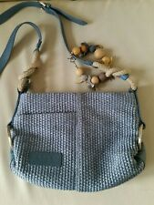 Radley Woven Straw Crossbody Bag With Bracelet Leather Trim Blue Small