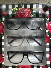 BETSEY JOHNSON + 1.50 READERS OVERSIZED TORTOISE-BLACK-CLEAR Floral Pack 3 NWT