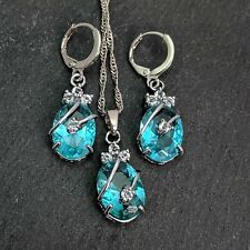 Versilbert Oval Blau und Weiß Cubic Zirkonia Halskette Ohrringe Set
