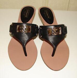 NIB Coach size 7.5 black leather Alberta thong front kitten heel sandals A3217