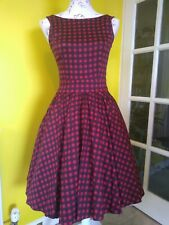 Lady Vintage London (like Lindy Bop) Crimson Red Gingham Swing Dress Size 8