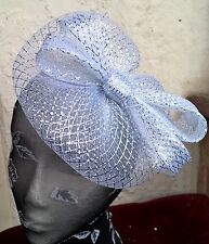 silver fascinator millinery burlesque wedding hat ascot race bridal party