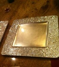 Square Gold Rhinestone Plate Chargers, set of 4