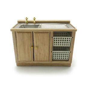 Dollhouse 1:12 Wooden Kitchen Sink Basket Bathroom Cabinet Miniature Furniture