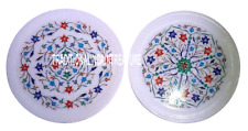 Set of 2 White Marble Cake Dish Plate Multi Stone Inlay Mosaic Floral Art Decor