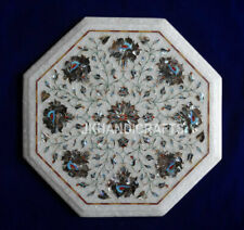 "15"" Marble Dining Coffee Table Top Abalone Shell Floral Inlay Patio Decor"