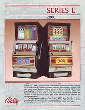Bally E SERIES 2000 Original NOS Slot Machine Promo Sales Flyer E-2096 E-2099