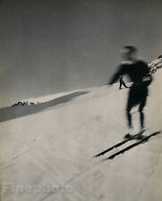 1935 Vintage SKIING WINTER LANDSCAPE Snow Photo Art JEAN MORAL 16x20 Frame Ready