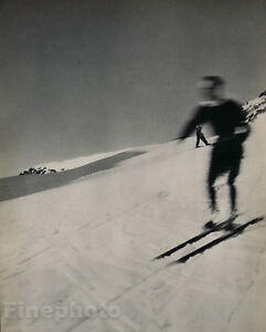1935 Vintage JEAN MORAL Skier Downhill Skiing Snow Alps Photo Gravure Art 16x20