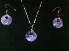 Silver + Purple semi precious stone necklace + dangle earring set