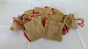 10 X  Jute, Hessian, Gift, Storage Pouch, Drawstring Bag, wedding favours