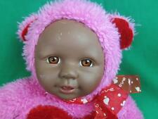 BLACK FACE BABY DOLL I LOVE YOU PINK RED TEDDY BEAR COSTUME VALENTINE PLUSH TOY