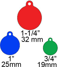 25 Premium Circle Round w/tab Pet ID tags Fully Anodized Aluminum Wholesale