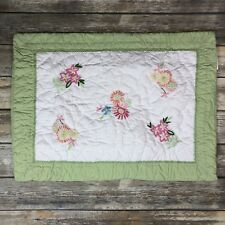 Pottery Barn Kids Embroidered Flowers Floral Quilted Pillow Sham Green White