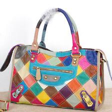 New Designer Women's Cow Leather Multi-color Handbag Satchel Tote Shoulder Bags