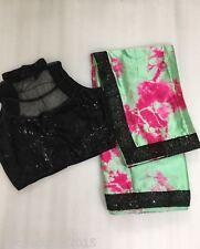 Designer Wear Satin Sibori Stitched Sequence Blouse Stunning Saree