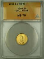1993 $5 American Gold Eagle Coin AGE 1/10th Oz ANACS MS-70