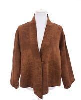 Chicos Womens Brown Leopard Print Faux Suede Leather Jacket Lightweight Sz M / L