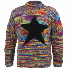 Wool Jumper Star Chunky Knit Knitted Sweater Pullover Rolled Crew Neck Rainbow