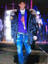 """Authentic DSQUARED REAL DOWN """"FIGHTING DUDES"""" LONG PARKA 71AA040 tag.54 (XL)"""