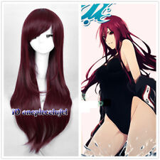 Free! Rin Matsuoka Long Straight wine red Anime Cosplay Hair Wig + free wig cap