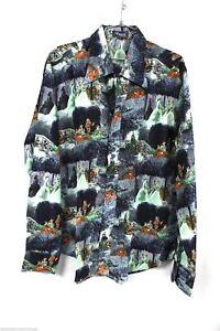 Vtg 70s Disco Shirt Mod Hippie Dance M Pascal 18th Century Print Acetate Nylon