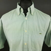 Lacoste Mens Vintage Shirt 42 (LARGE) Short Sleeve Green Regular Fit Striped