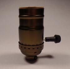 New 3-Way Antique Brass Finish Medium Base Turn Knob Lamp Socket SO346A