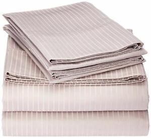 New Elle Home Full sheet set Grey Pinstripe 1000tc Cotton blend