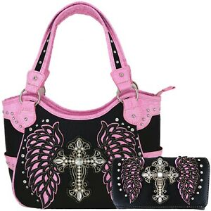 Western Cross Laser Cut Wing Country Handbag Purse Women Shoulder Bag Wallet Set