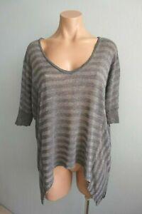 Splendid USA Metallic Stripes V neck Draped Sides Grey Oversize T-Shirt sz S