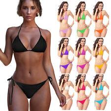 Women Stretch Bottoms String Beach Swimwear Bikini Set Brazilian Swimsuit Cheeky
