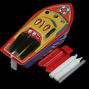 1Set Candle Powered Steam Boat Tin Toy Floating Boat Toy Children Birthday hNBI