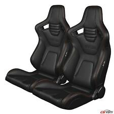 BRAUM - Black Leather Carbon Fiber Mix ELITE-X Racing Seats w/ Red Stitch -Pair