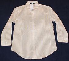 $79.50 New RALPH LAUREN Women's MEDIUM M Button Dress Shirt Beige Khaki Striped