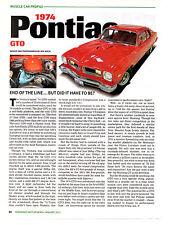 1974 PONTIAC GTO ~ NICE MUSCLE CAR PROFILE ARTICLE / AD