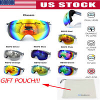 USA Adults Ski Skiing Snowboard Goggles Anti-fog UV Snow Skiing Mirror Dual Lens