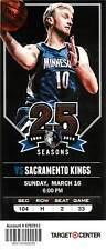 Ticket Basketball Minnesota Timberwolves 2013 - 14  Mar 16 Sacramento Kings