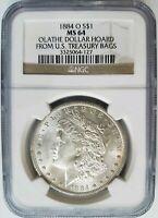 1884 O Silver Morgan Dollar NGC MS 64 Olathe Hoard Collection Treasury Mint Bags