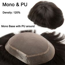 Mono PU Lace Thin Skin Remy Human Hair Men Toupees Hand Tied Hair Replacement UK